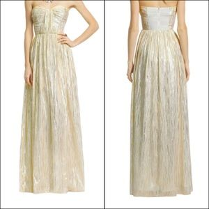 Erin Fetherstone Cream & Gold Metallic Gown